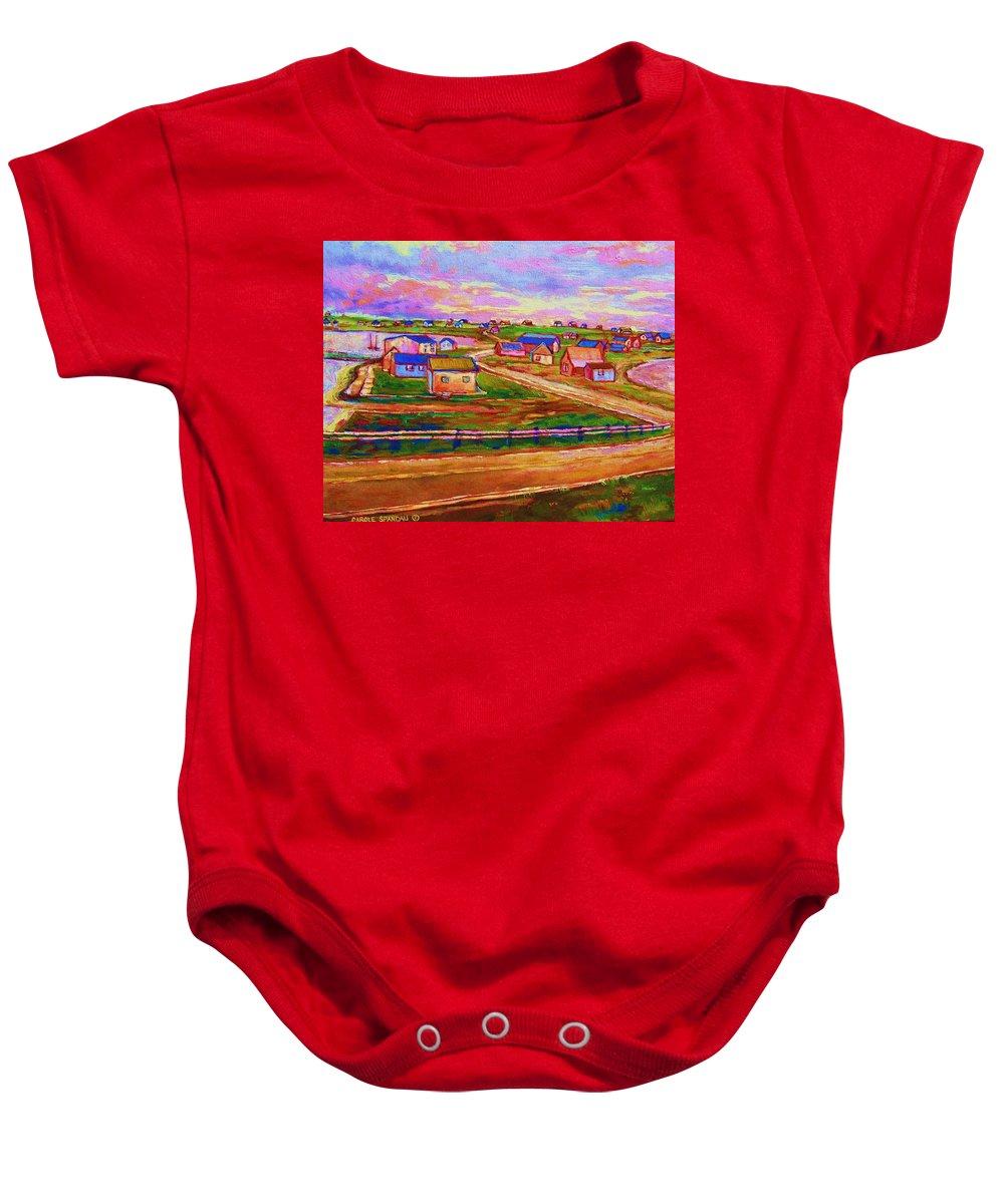 Sunrise Baby Onesie featuring the painting Sleepy Little Village by Carole Spandau