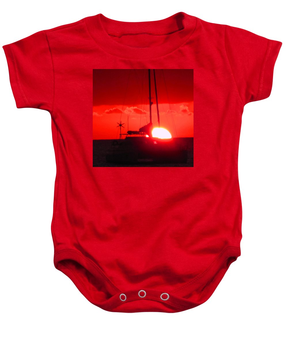 Sunset Baby Onesie featuring the photograph Slipping Over The Edge by Ian MacDonald
