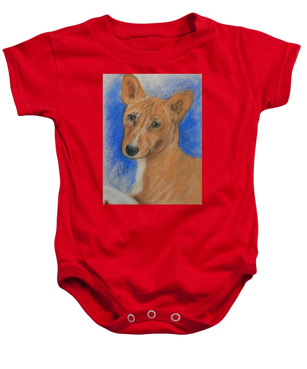 Dog Baby Onesie featuring the drawing Small And Mighty by Cori Solomon