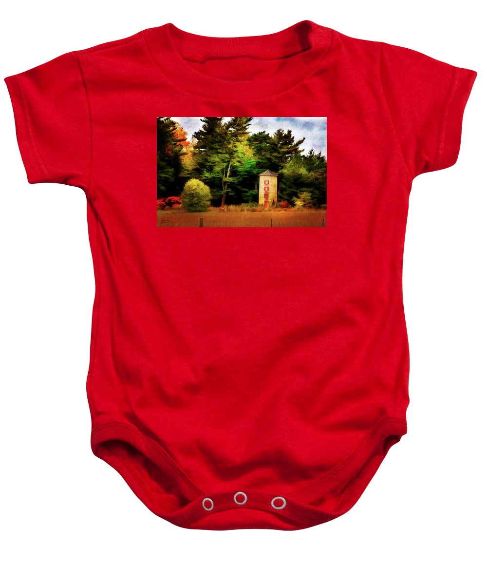 Autumn Baby Onesie featuring the digital art Small Autumn Silo by JGracey Stinson