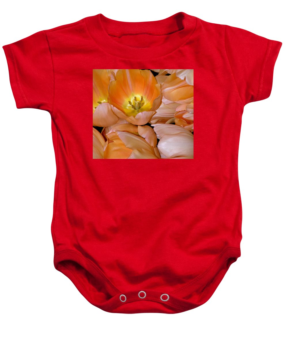 Tulips Baby Onesie featuring the photograph Somewhat Peachy by Trish Tritz