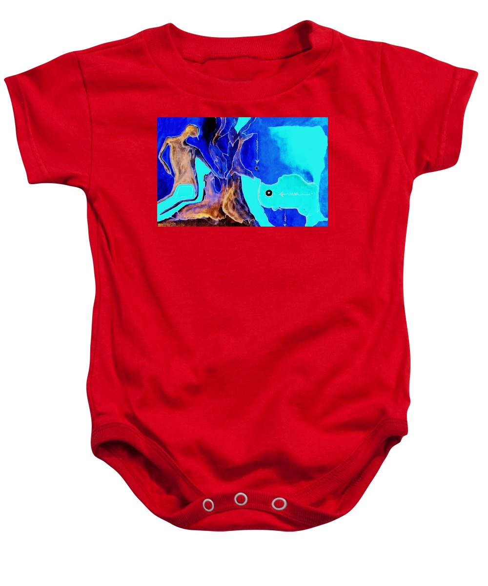 Game Direction Abstract Red Man Baby Onesie featuring the painting Sophogame by Veronica Jackson