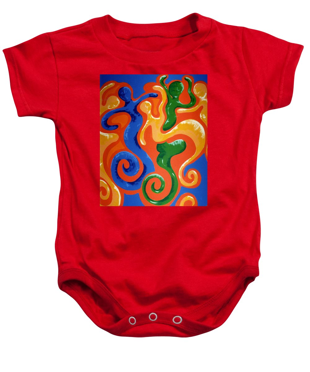 Baby Onesie featuring the painting Soul Figures 7 by Catt Kyriacou