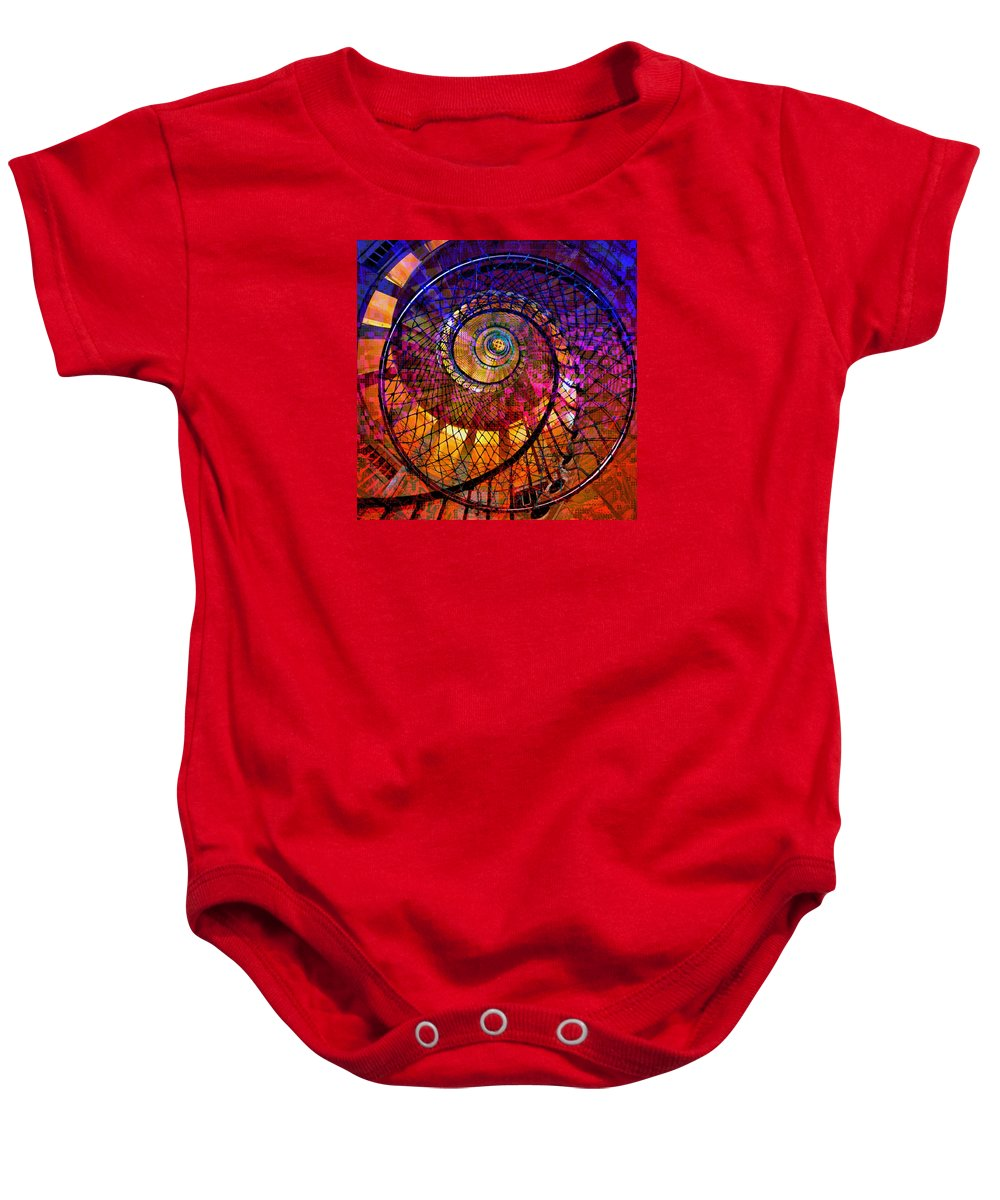 Digital-art Baby Onesie featuring the digital art Spiral Spacial Abstract Square by Mary Clanahan