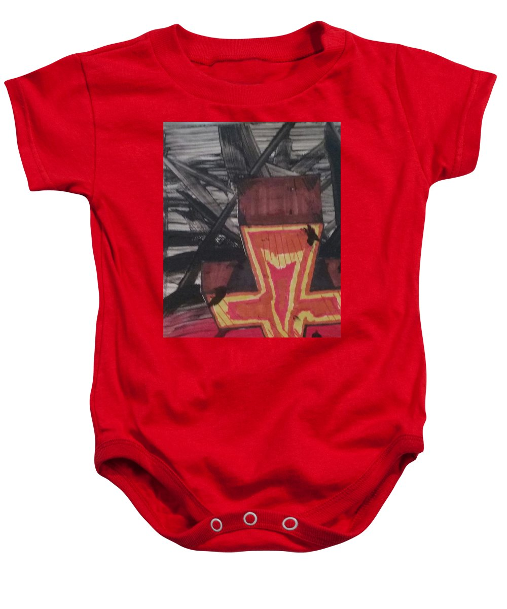 Cross Baby Onesie featuring the painting Ssorc Eht by Chris Lewis