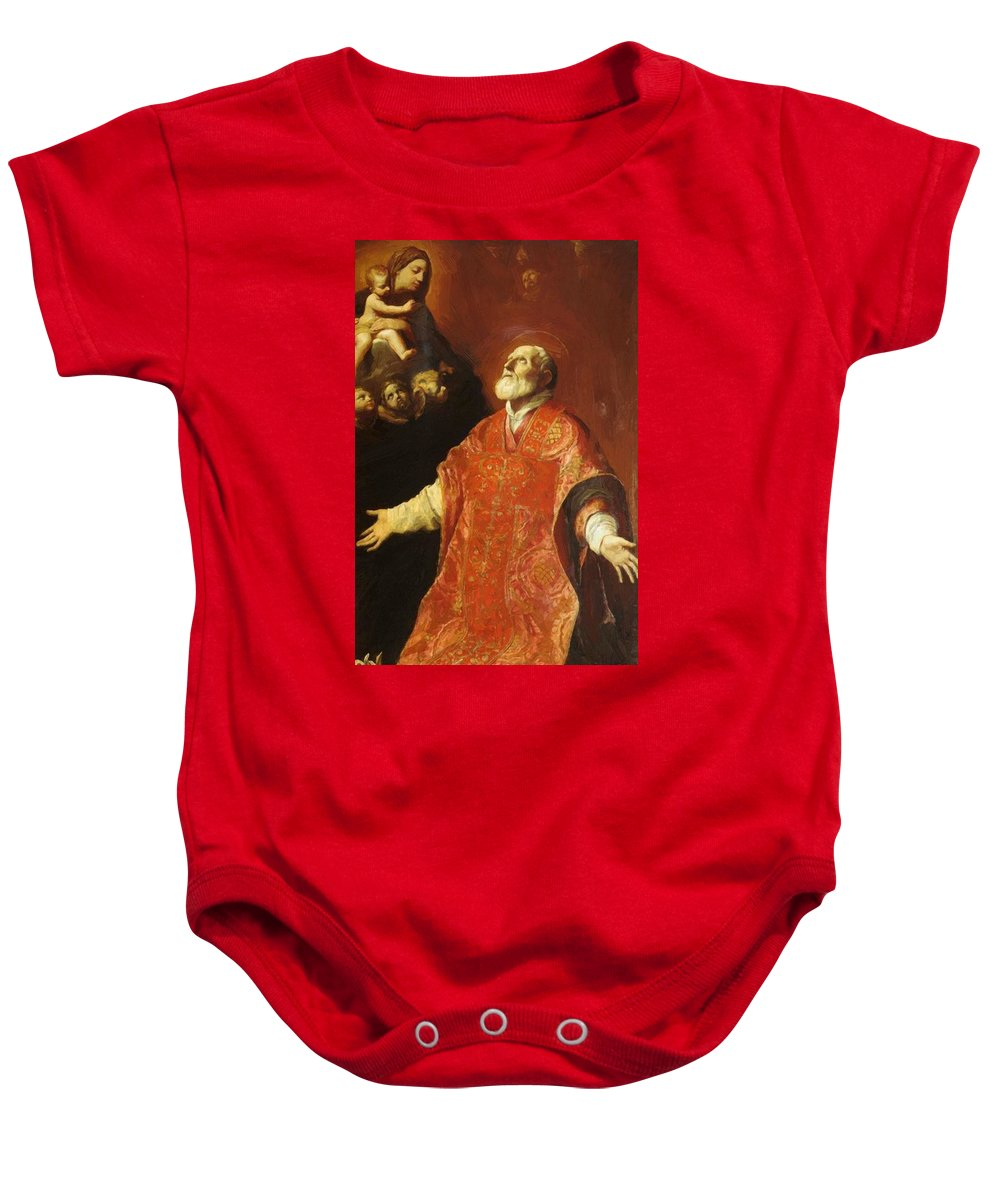 St Baby Onesie featuring the painting St Filippo Neri In Ecstasy 1614 by Reni Guido