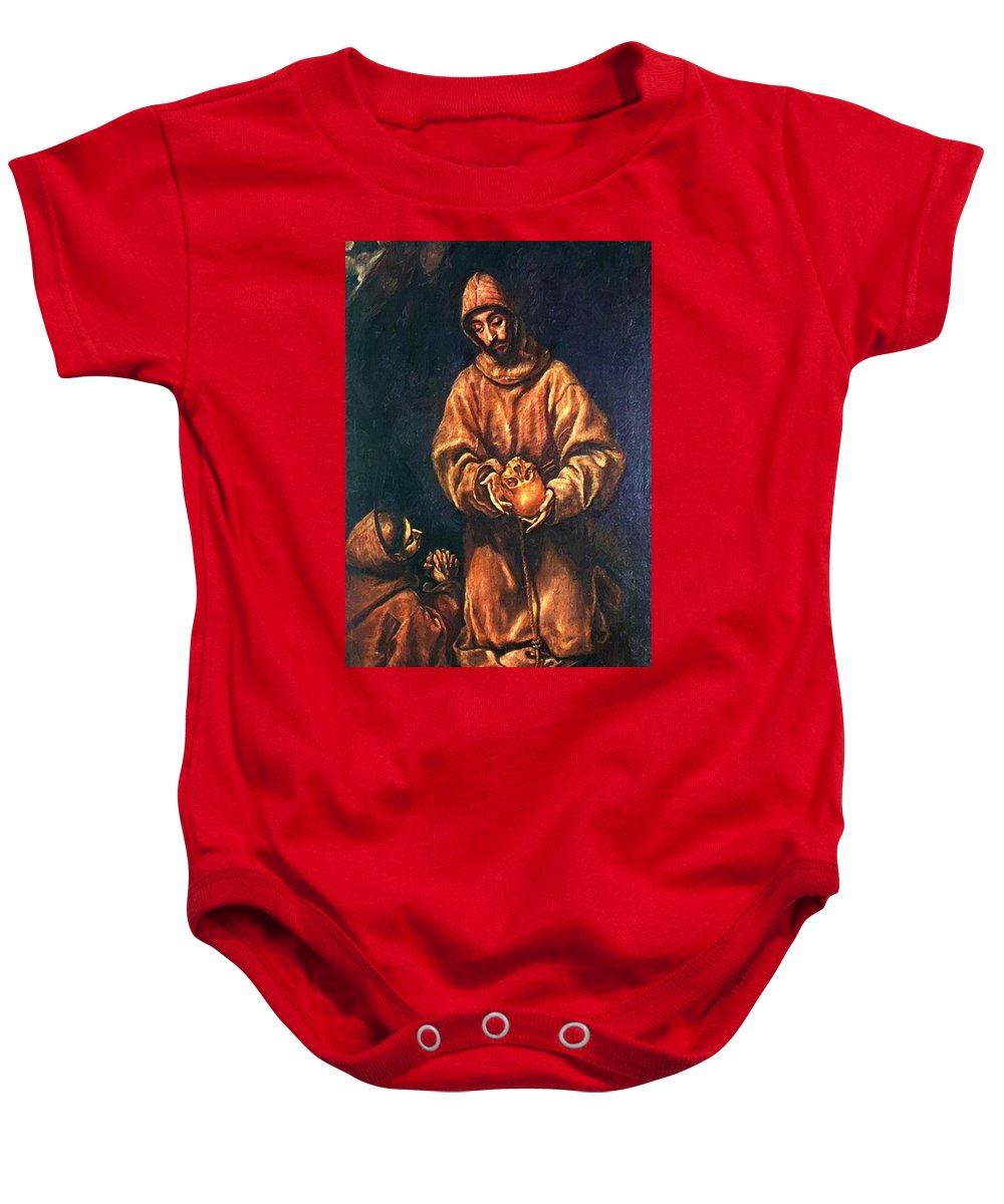 St Baby Onesie featuring the painting St Francis And Brother Rufus 1606 by El Greco