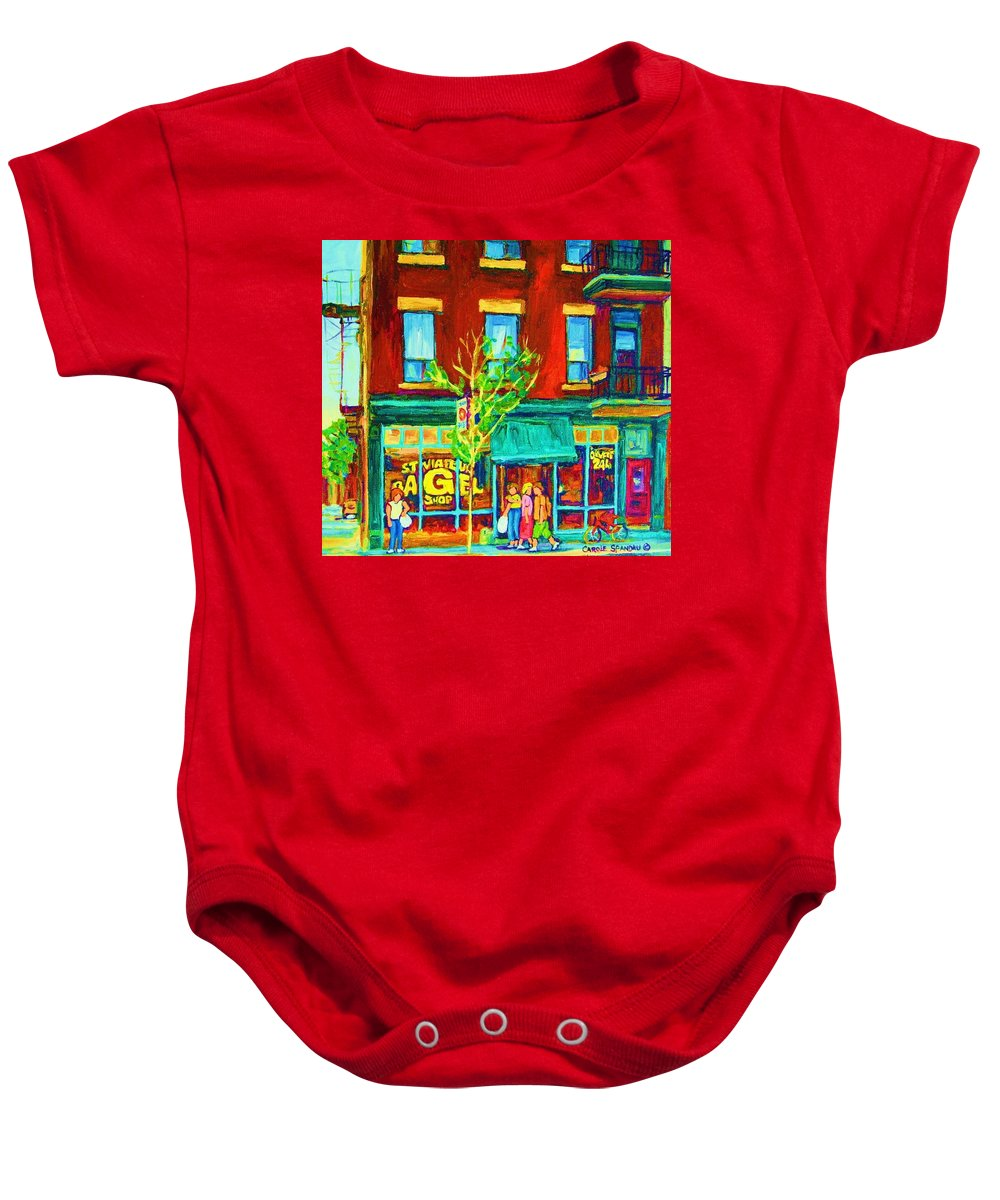 St. Viateur Bagel Shop Baby Onesie featuring the painting St Viateur Bagel Shop by Carole Spandau