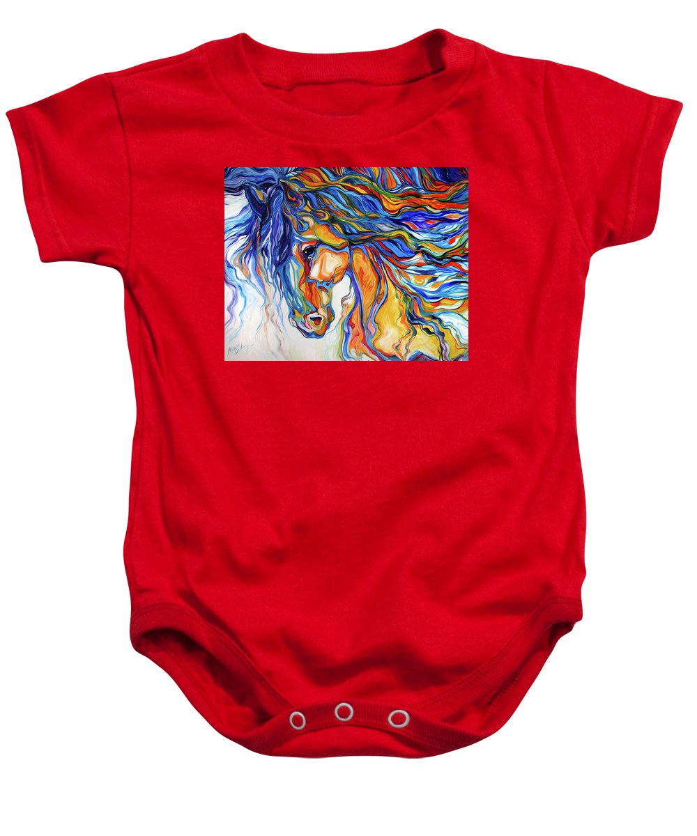 Equine Baby Onesie featuring the painting Stallion Southwest By M Baldwin by Marcia Baldwin