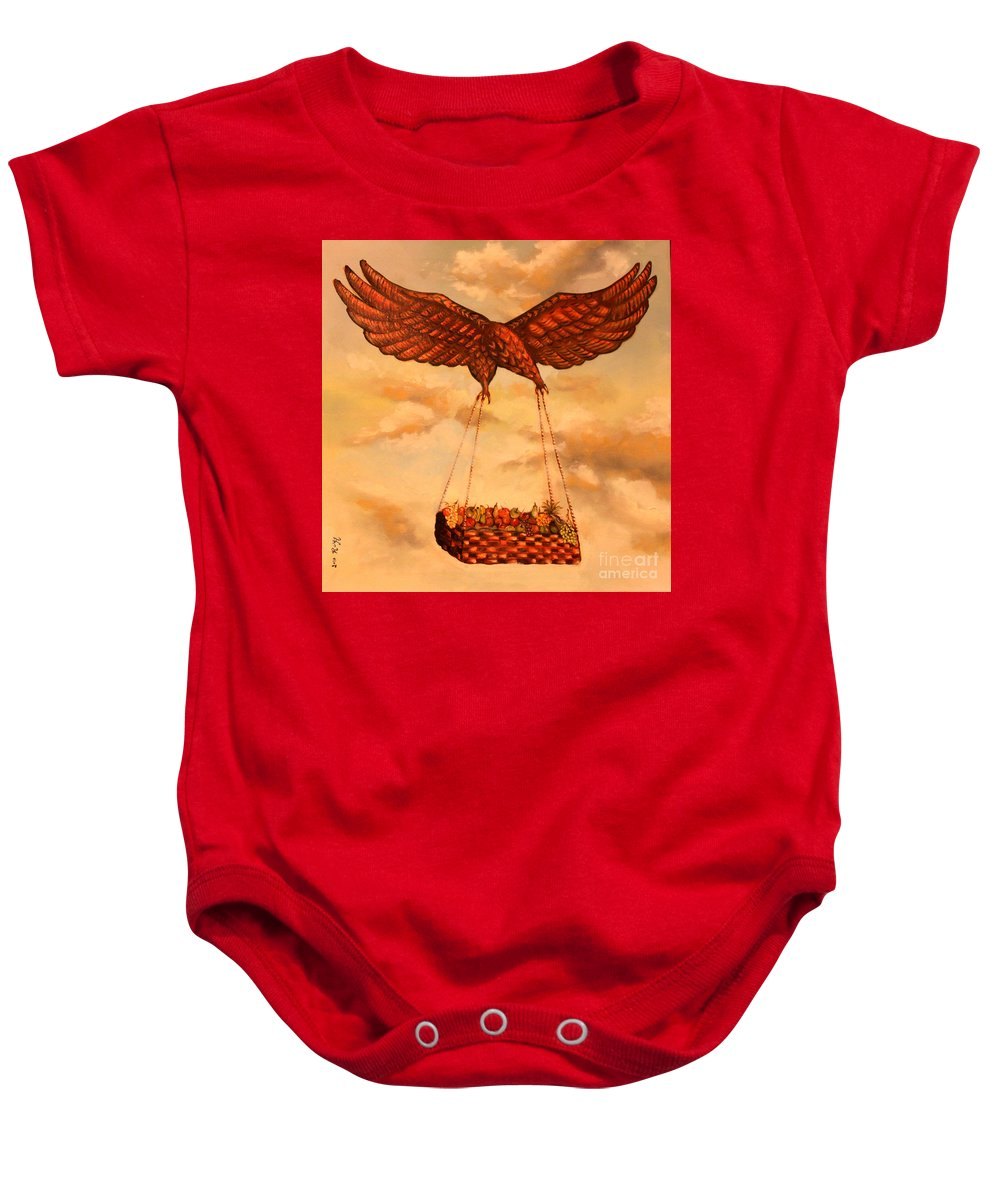 Eagle Baby Onesie featuring the painting Starvation Dream by Roy Haddad