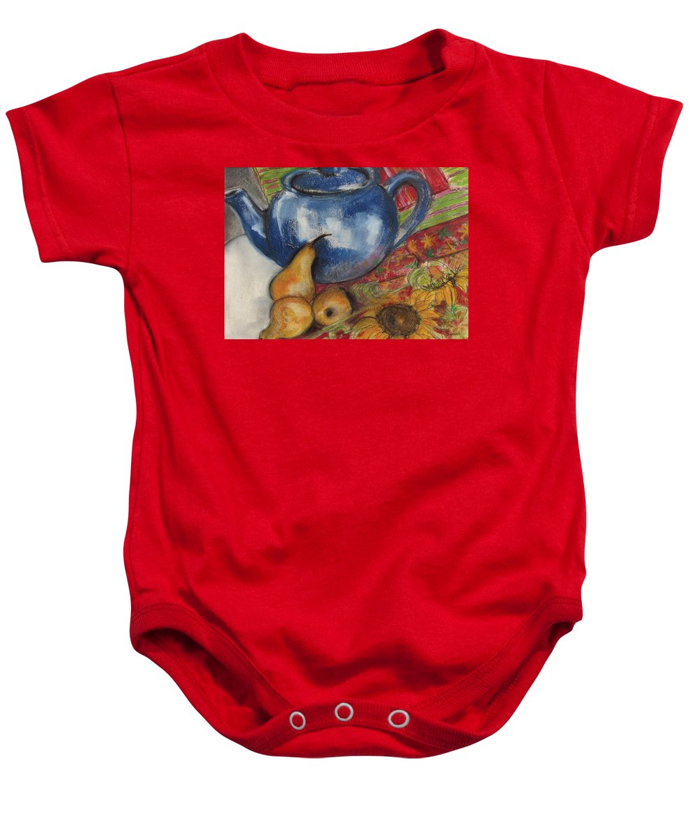 Still-life Baby Onesie featuring the painting Still Life With Blue Teapot One by Susan Adams