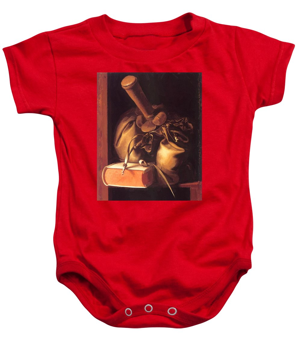 Still Baby Onesie featuring the painting Still Life With Book And Purse by Dou Gerrit