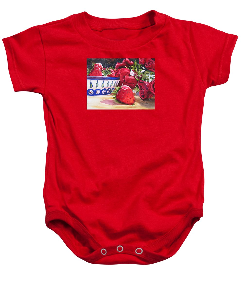 Strawberries Baby Onesie featuring the painting Strawberries And Roses by Karen Stark