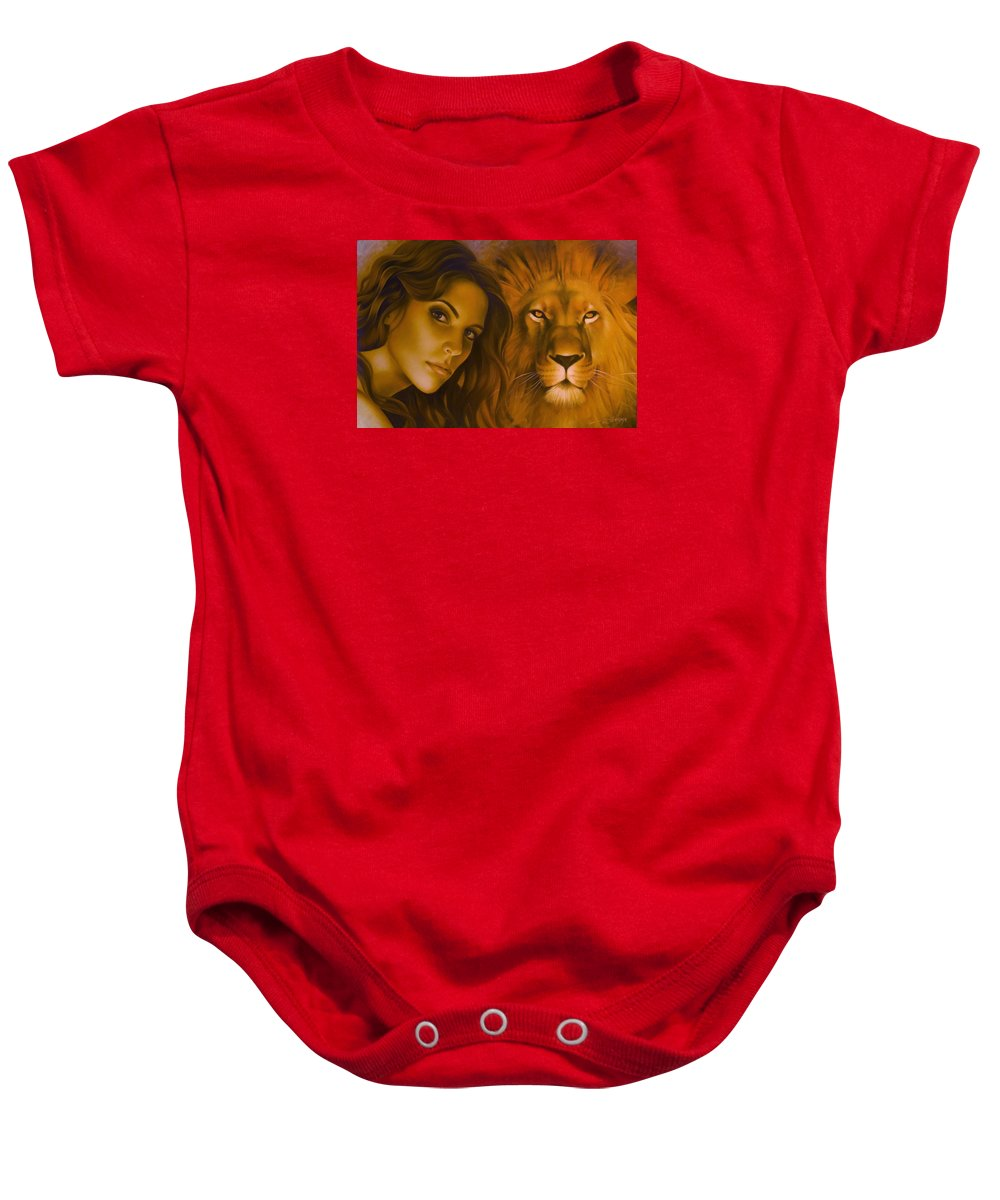 Portrait Baby Onesie featuring the painting Strenght And Tenderness by Arthur Braginsky