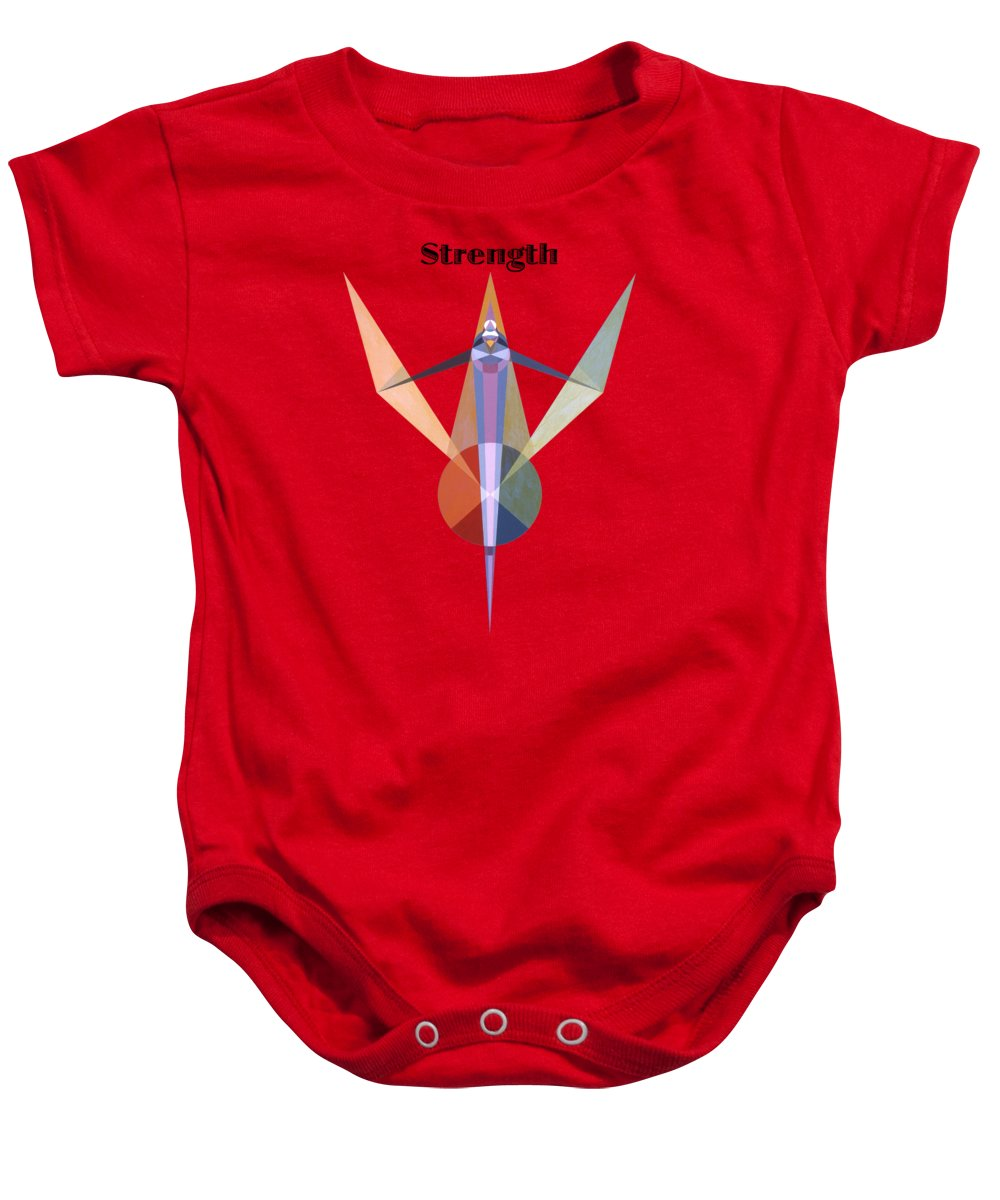 Painting Baby Onesie featuring the painting Strength text by Michael Bellon