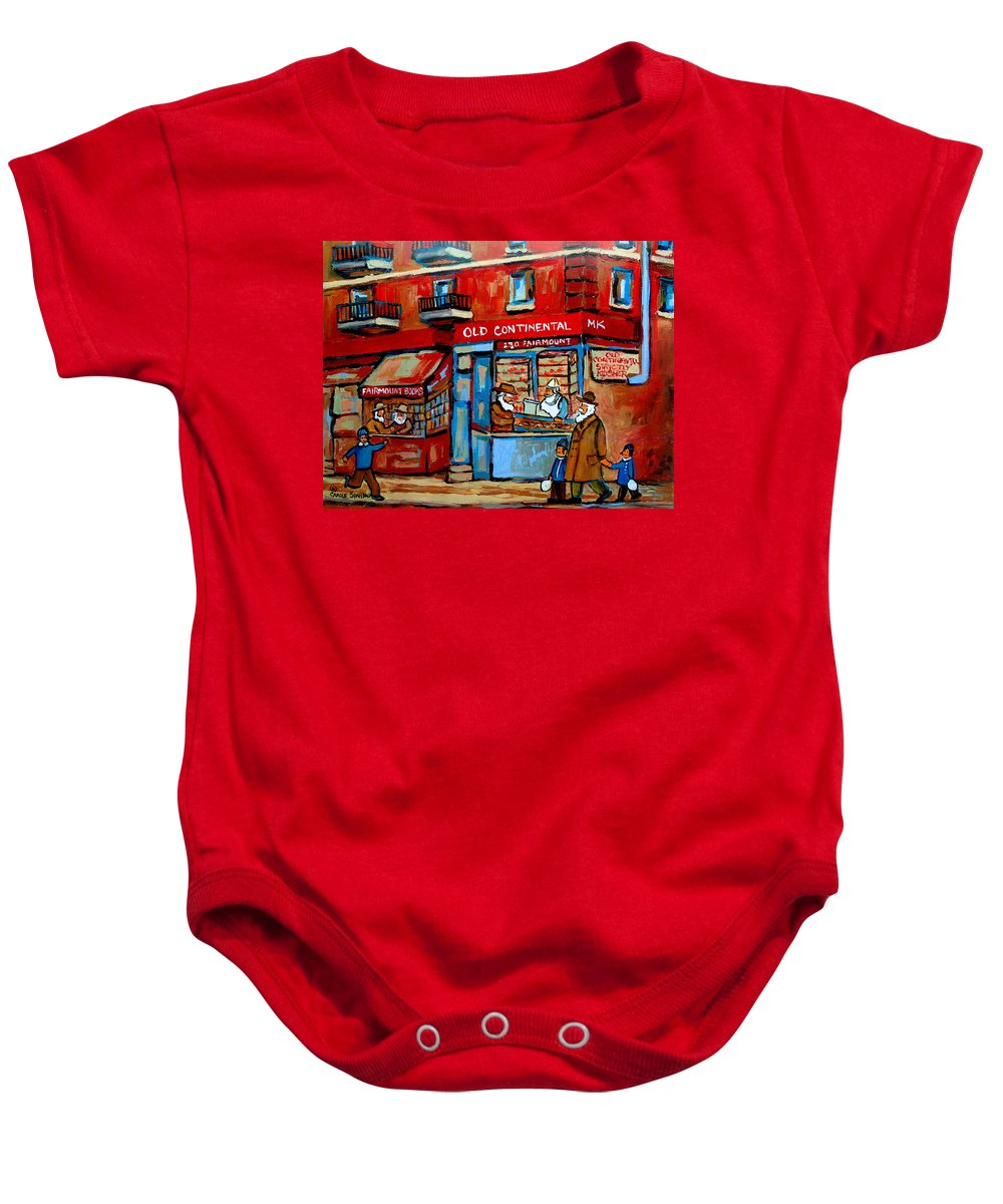 Old Continental On Fairmount Baby Onesie featuring the painting Strictly Kosher by Carole Spandau