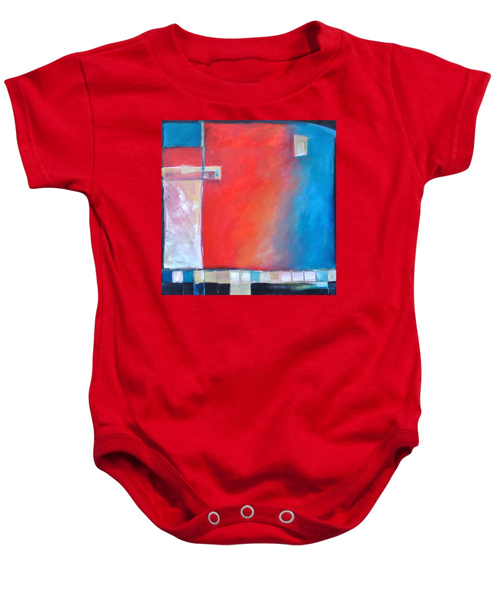 Abstract Baby Onesie featuring the painting Structures And Solitude Revisited by Tim Nyberg