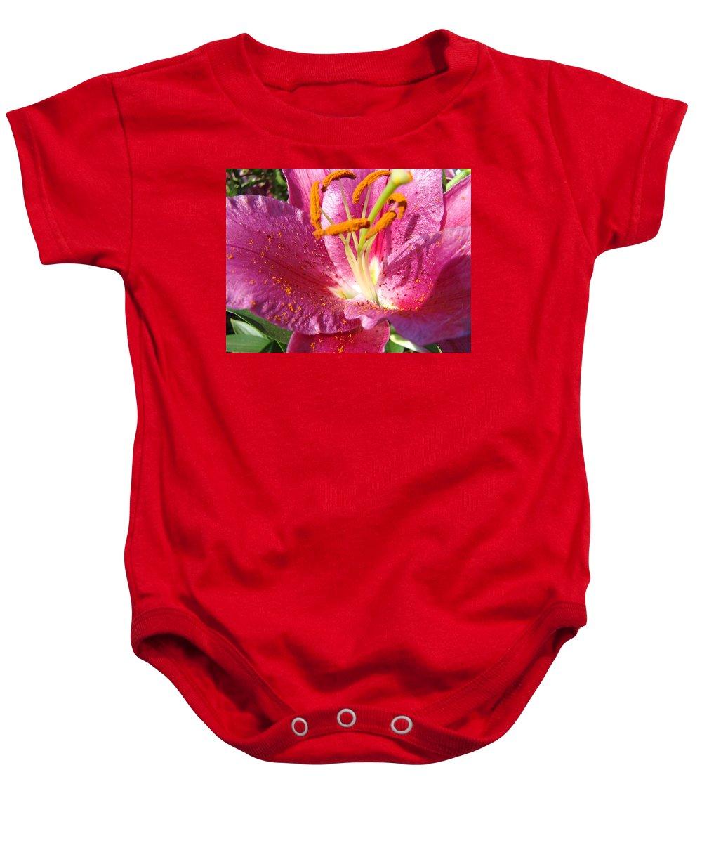 Lilies Baby Onesie featuring the photograph Summer Botanical Garden Art Pink Calla Lily Flower Baslee Troutman by Baslee Troutman