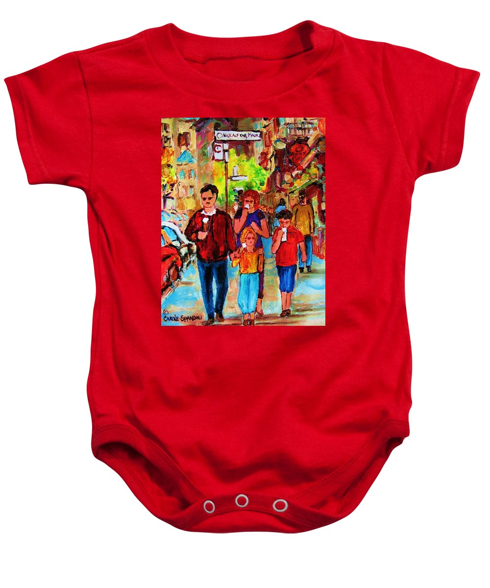 Montreal Streetscenes Baby Onesie featuring the painting Summer In The City by Carole Spandau
