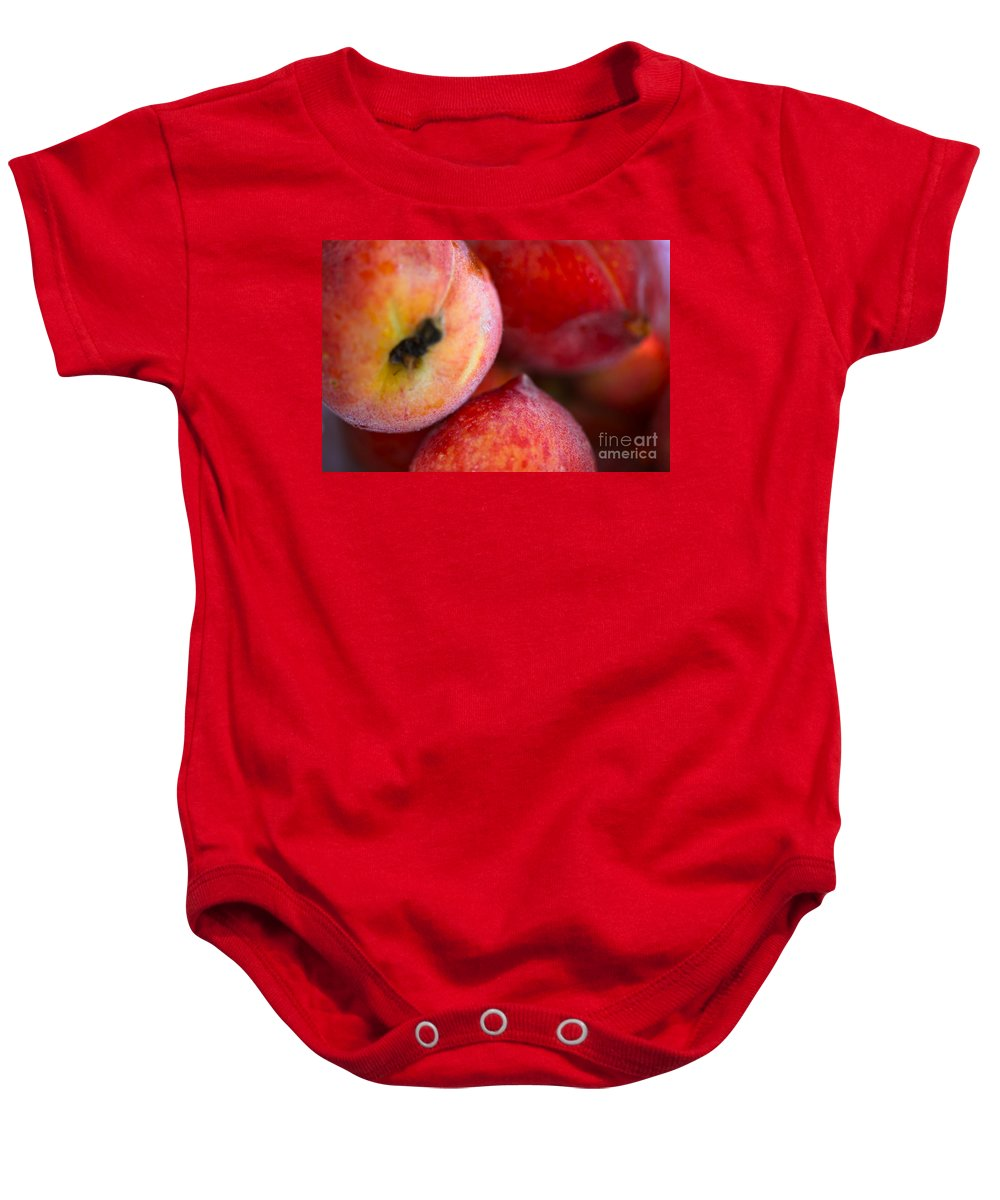 Peach Baby Onesie featuring the photograph Summer Peaches by Nadine Rippelmeyer