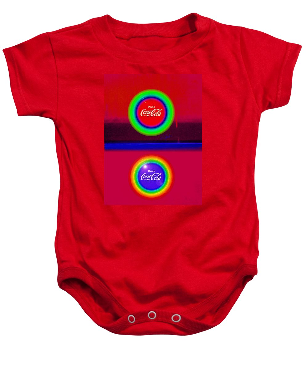 Red Baby Onesie featuring the painting Sun Down by Charles Stuart