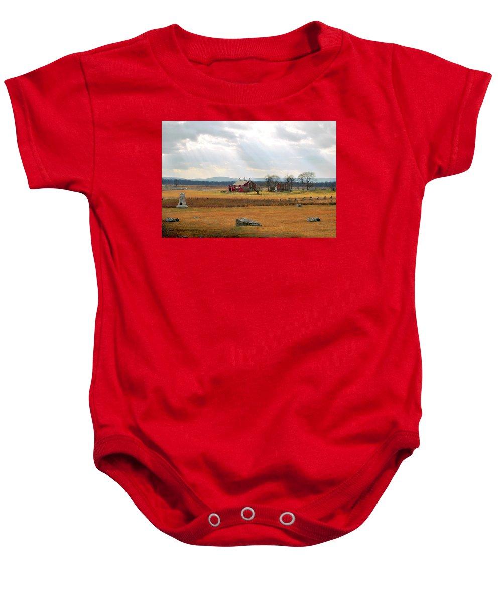 Civil War Baby Onesie featuring the photograph Sun Rays On Codori Farm. by Jen Goellnitz