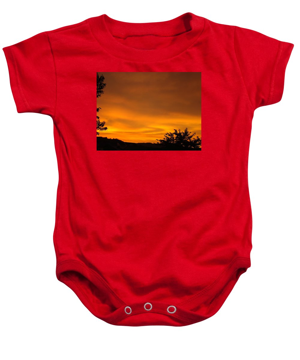 Sunset Baby Onesie featuring the photograph Sunset Art Prints Orange Glowing Western Sunset Baslee Troutman by Baslee Troutman