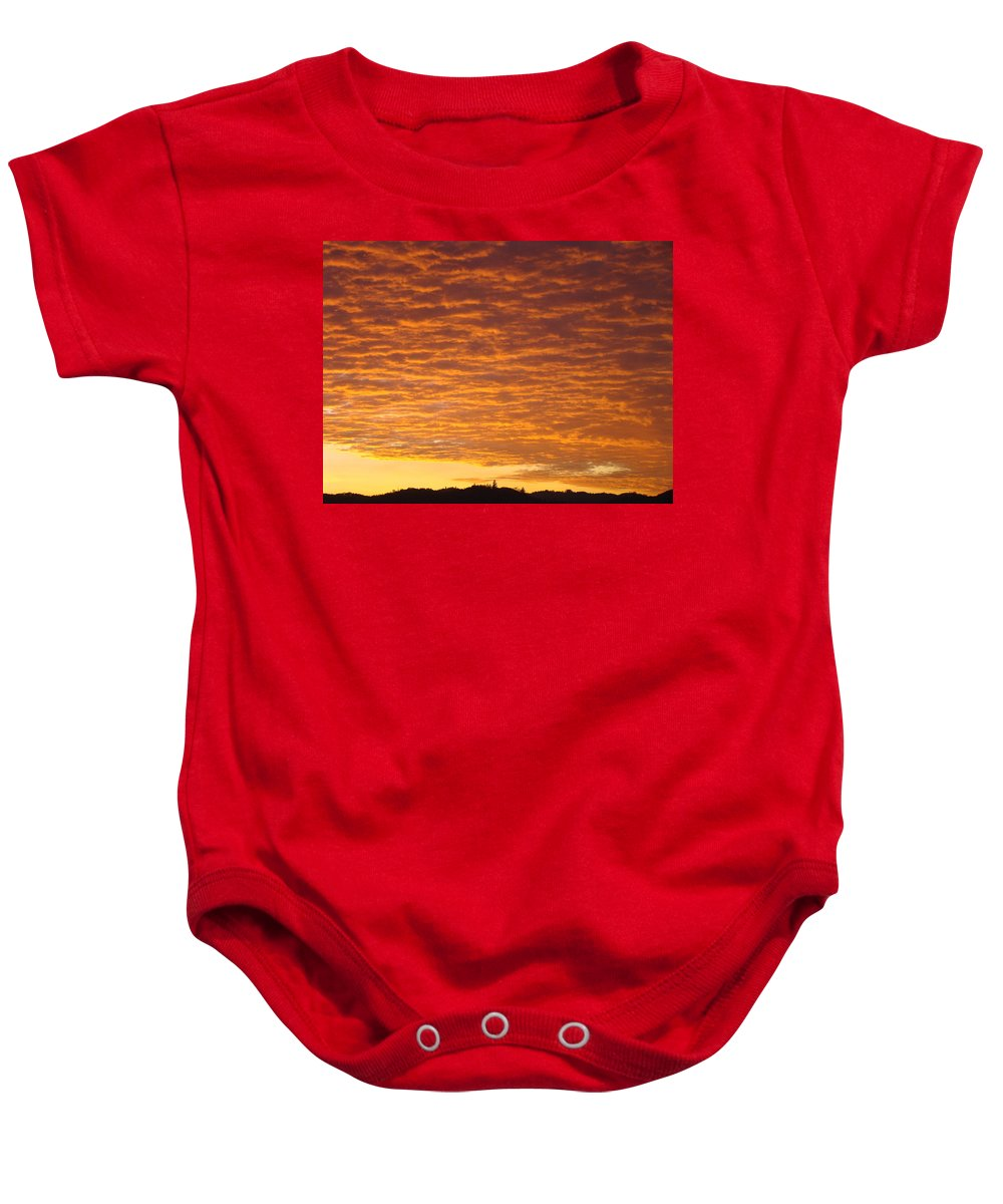 Sunset Baby Onesie featuring the photograph Sunset Fiery Orange Sunset Art Prints Sky Clouds Giclee Baslee Troutman by Baslee Troutman