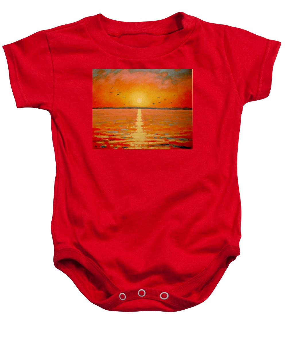 Sunset Baby Onesie featuring the painting Sunset by John Nolan