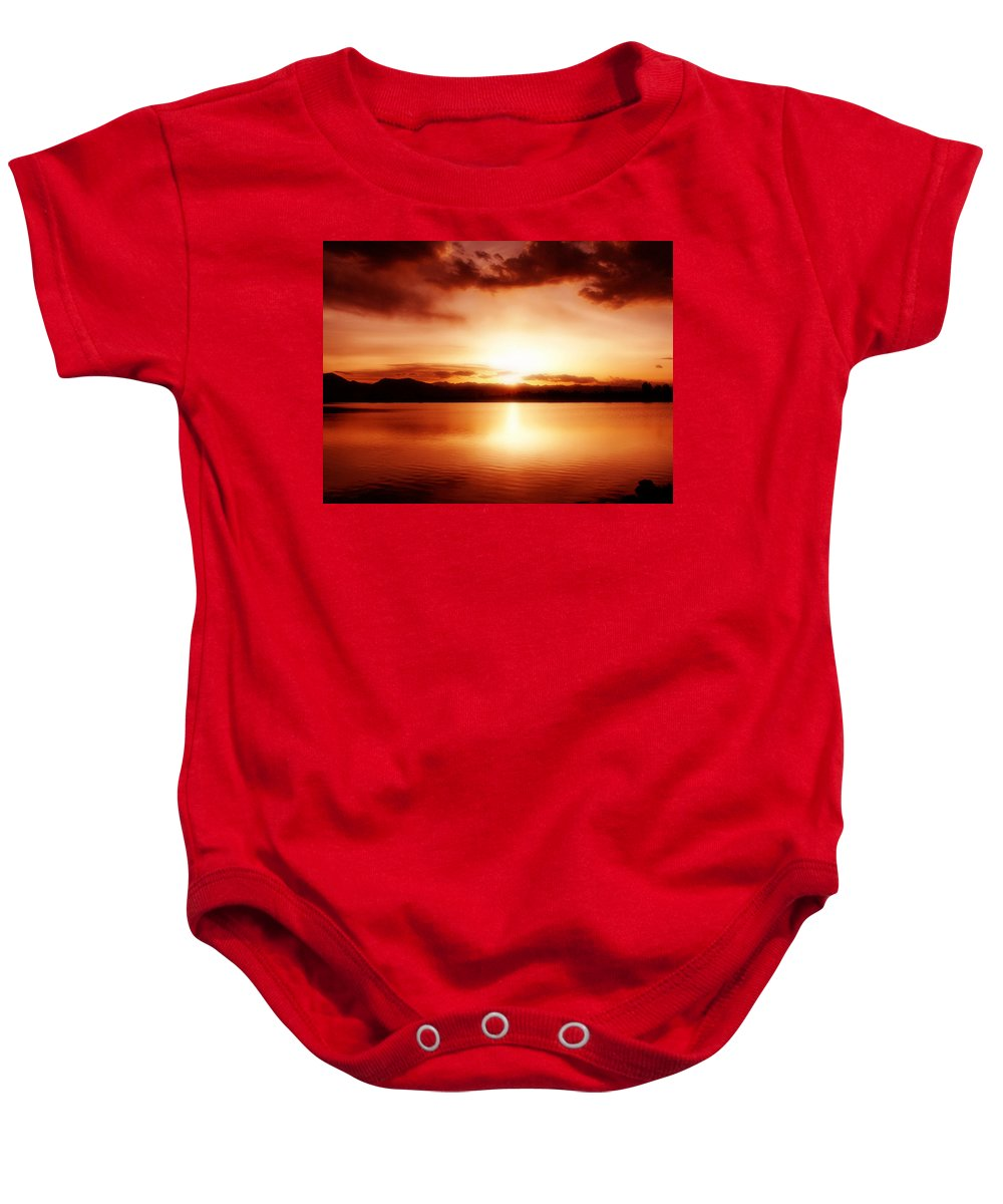 Lake Baby Onesie featuring the photograph Sunset by Marilyn Hunt