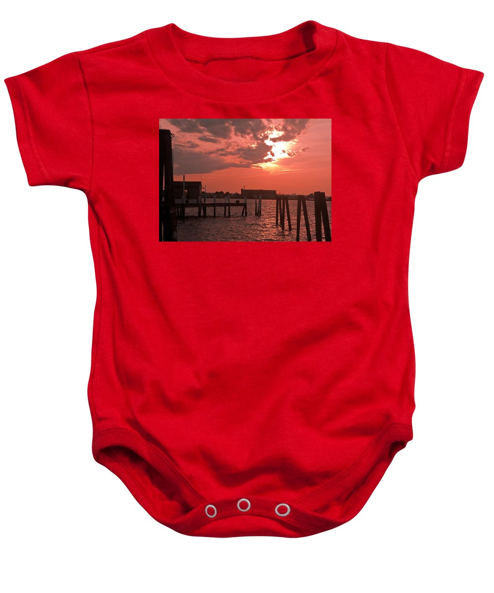 Sunset Baby Onesie featuring the photograph Sunset Newport Rhode Island by Steven Natanson