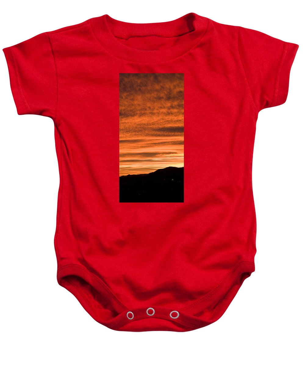 Red Baby Onesie featuring the photograph Sunset Over Suburb Of Ljubljana Taken From A Sixth Floor Apartme by Ian Middleton