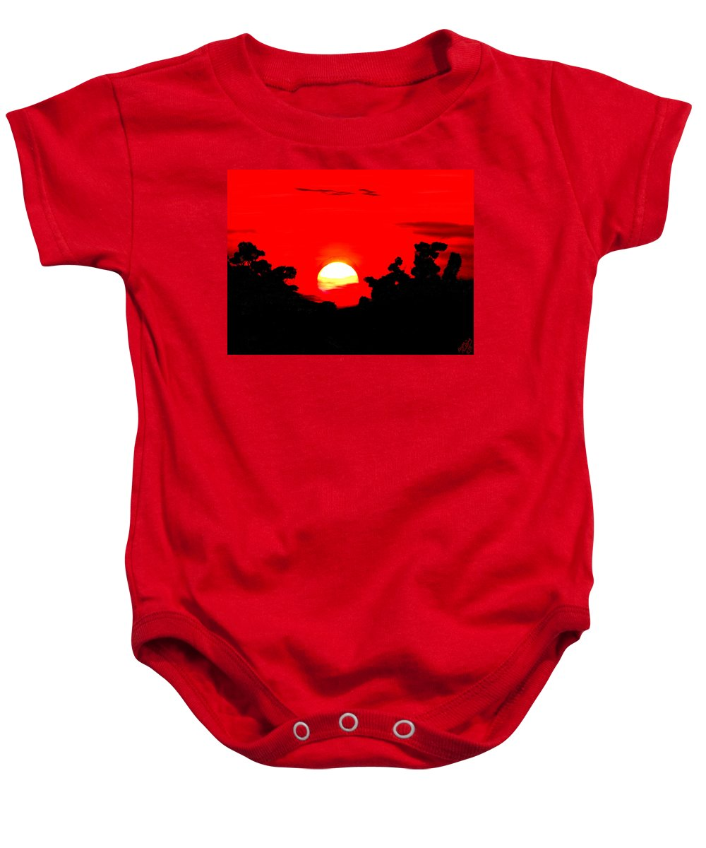 Sunset Baby Onesie featuring the painting Sunset Over The Trees by Bruce Nutting