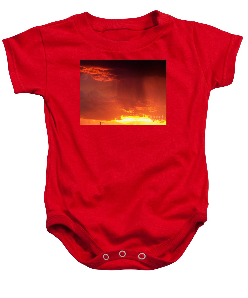 Sky Baby Onesie featuring the photograph Sunset Rain by Brian Commerford