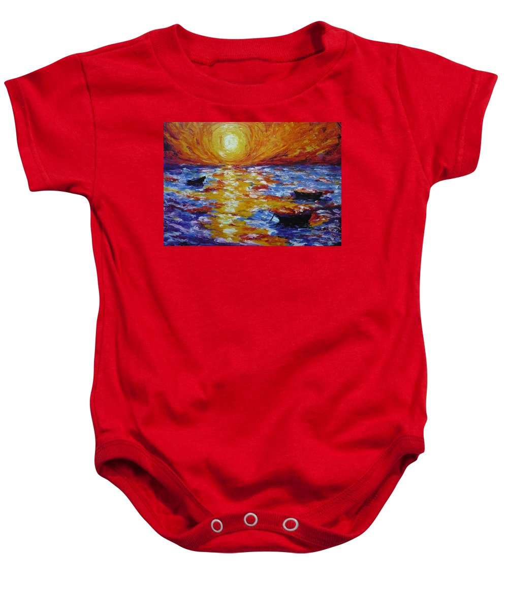 Landscape Baby Onesie featuring the painting Sunset With Three Boats by Ericka Herazo