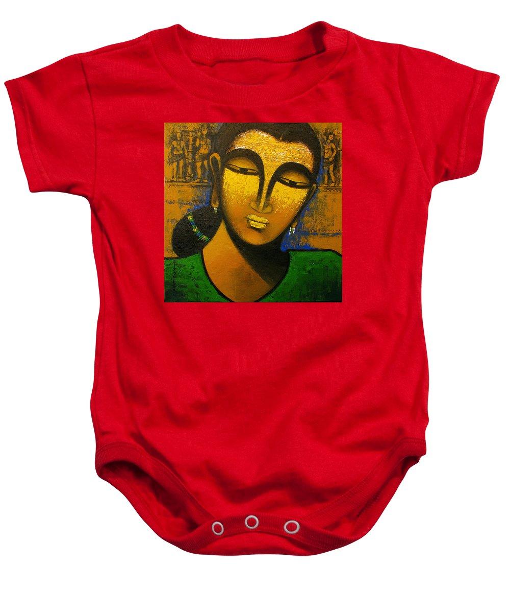 Sursundari Baby Onesie featuring the painting Sursundari 3 by Pratiksha Somnath Bothe