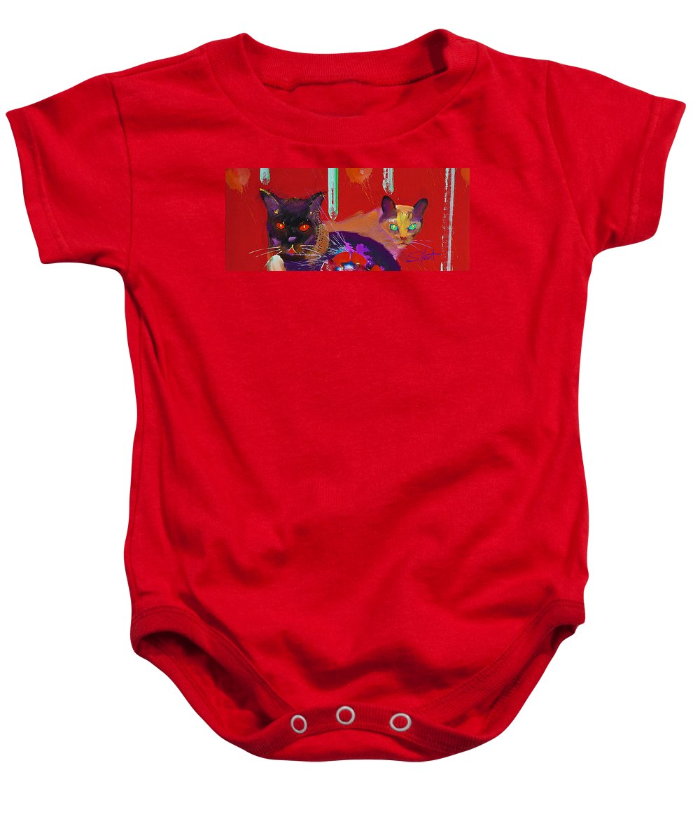 Cat Baby Onesie featuring the painting Suspicious Minds by Charles Stuart