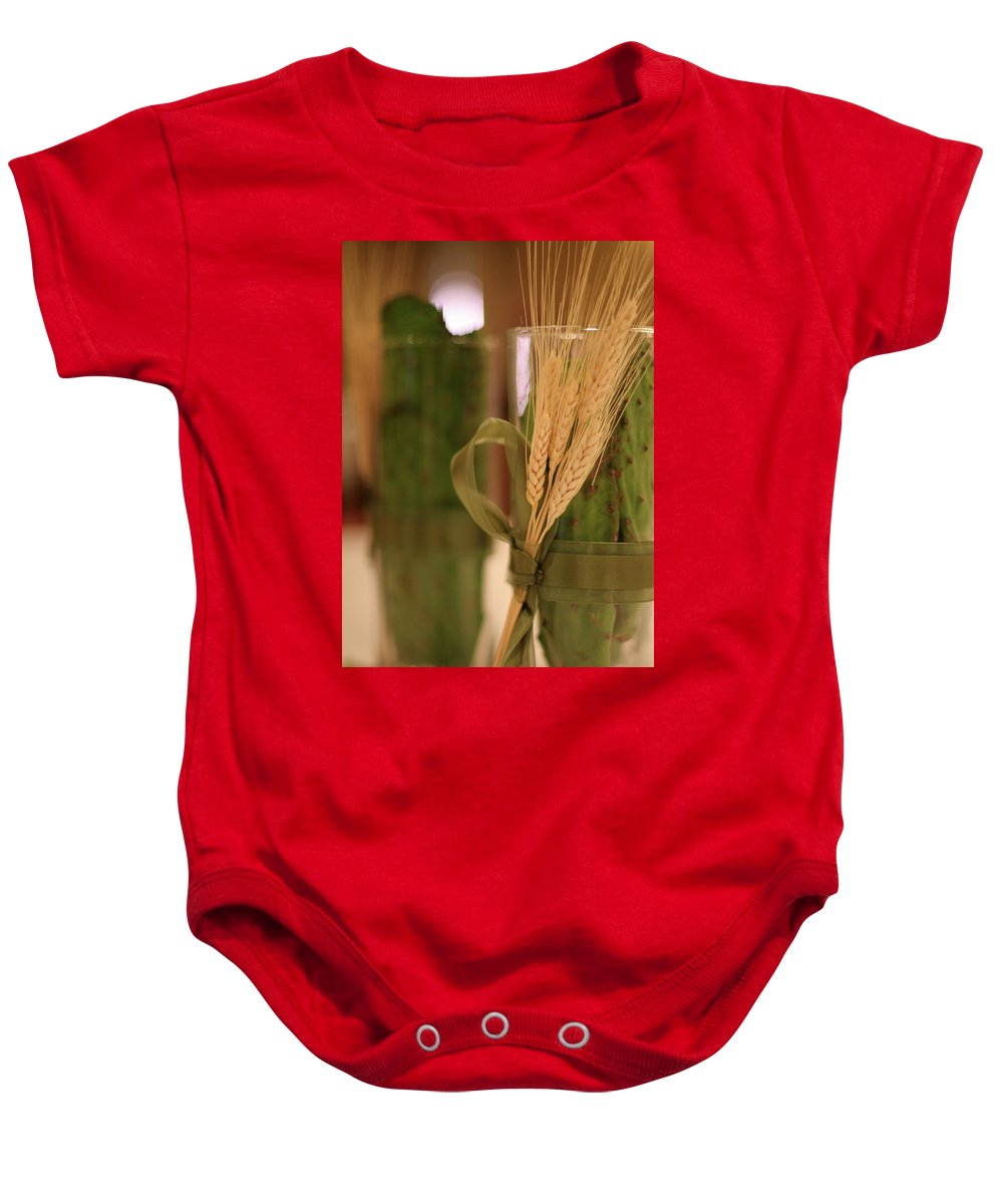 Table Decorations Cactus Wheat Baby Onesie featuring the photograph Table Decour by Angie Covey