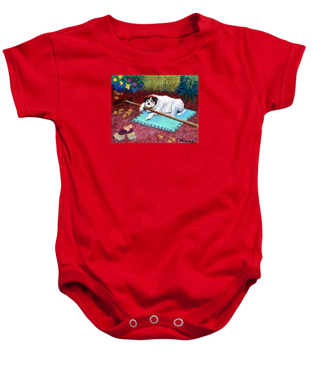 Dog Baby Onesie featuring the painting Take A Break by Minaz Jantz