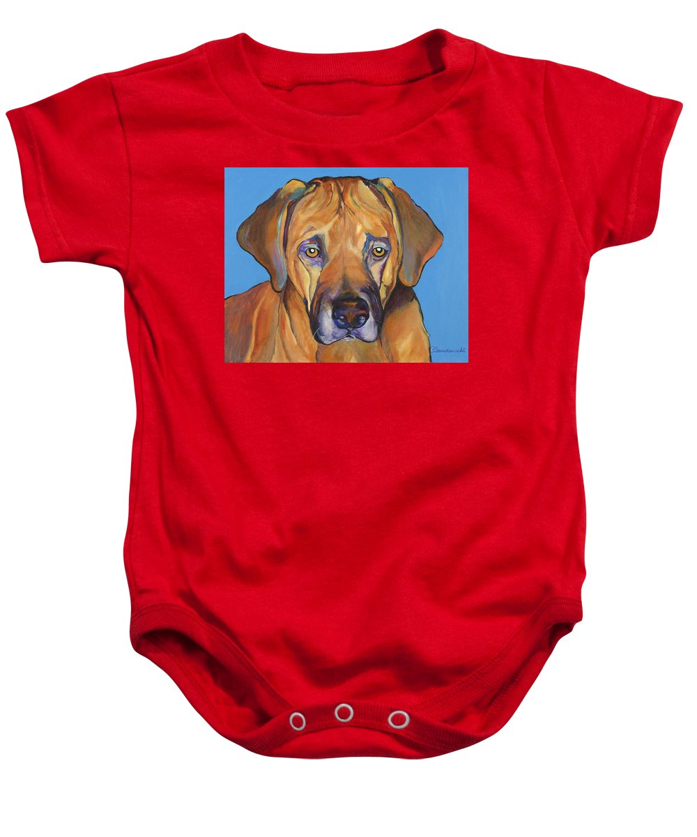 Rhodesian Ridgeback Dog Ridgeback African Colorful Orange Gold Yellow Red Baby Onesie featuring the painting Talen by Pat Saunders-White