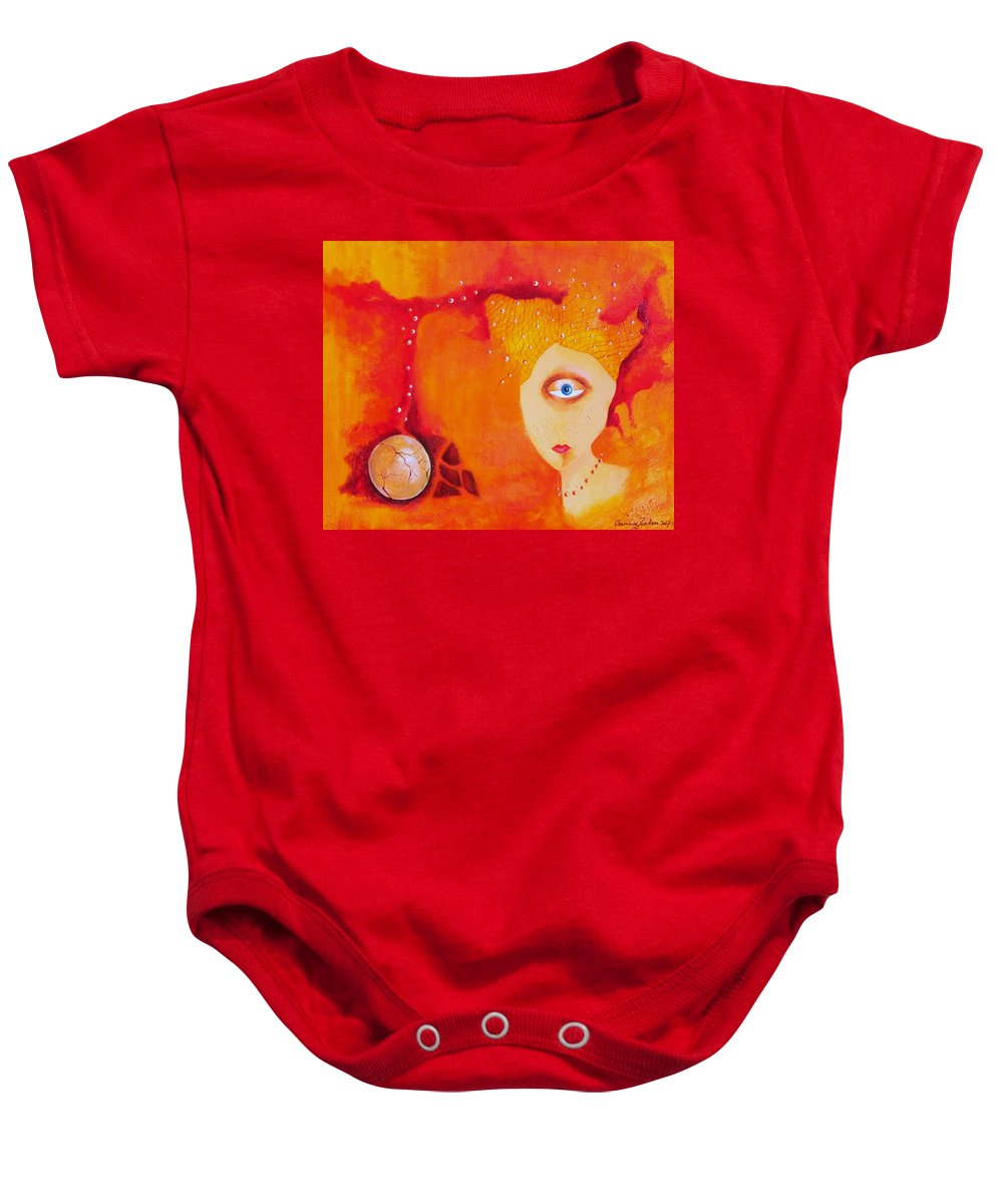 Tangerine Orange Eyes Woman Pearls Thoughts Life Egg Baby Onesie featuring the painting Tangerine Dream by Veronica Jackson