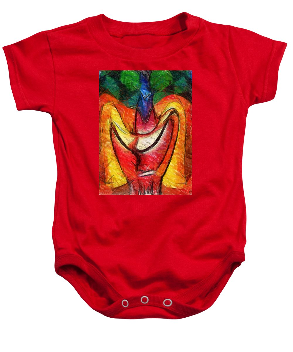 Melted Baby Onesie featuring the digital art Teehee by Johanna G