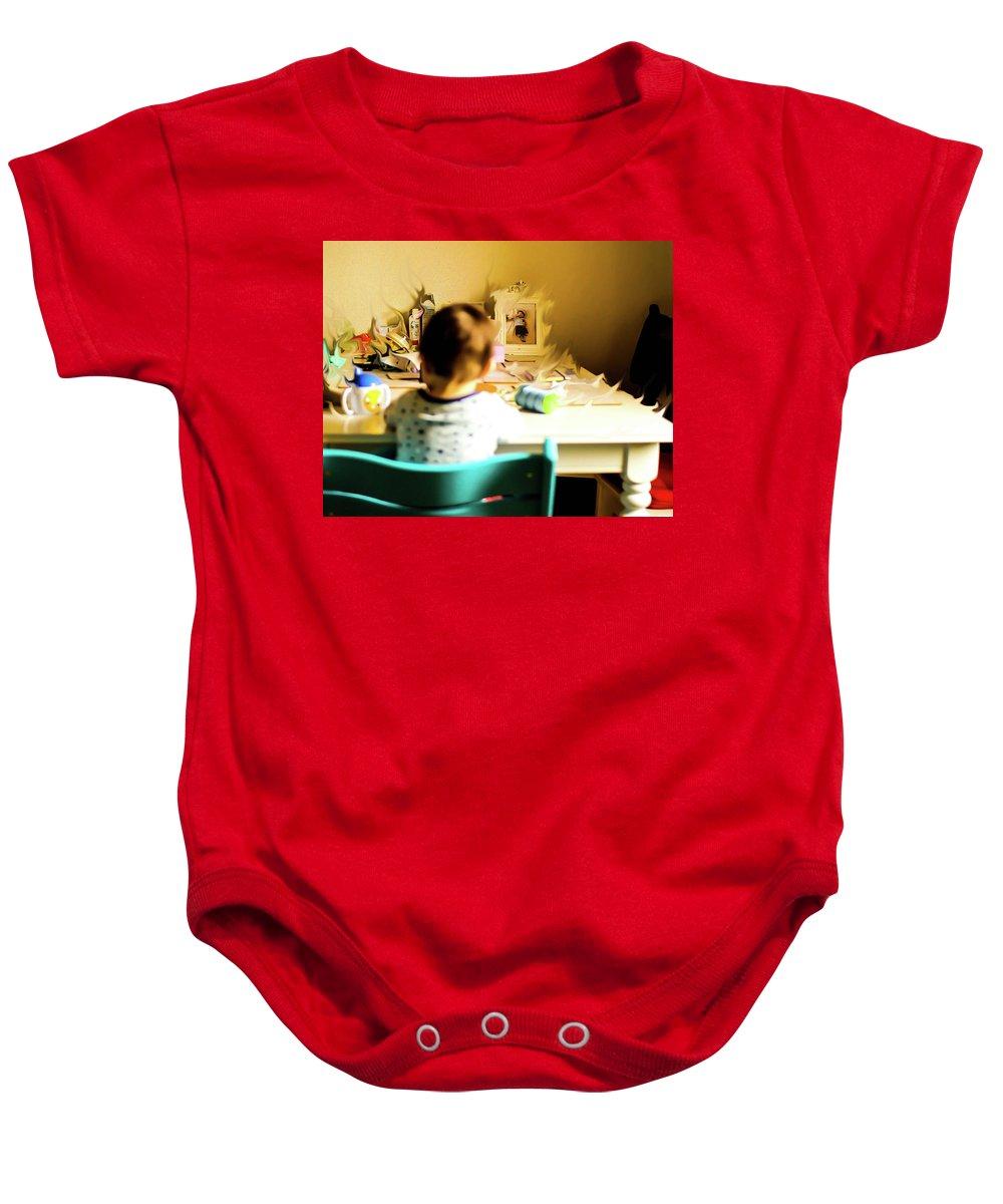 Baby Baby Onesie featuring the digital art Telekinetic by Sam White