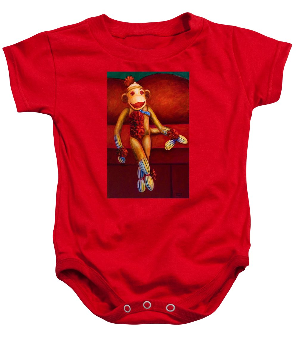 Children Baby Onesie featuring the painting Tell Me All About It by Shannon Grissom