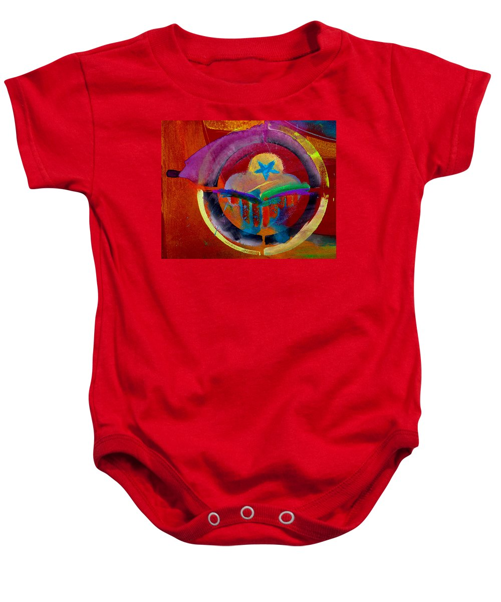 Button Baby Onesie featuring the painting Texicana by Charles Stuart