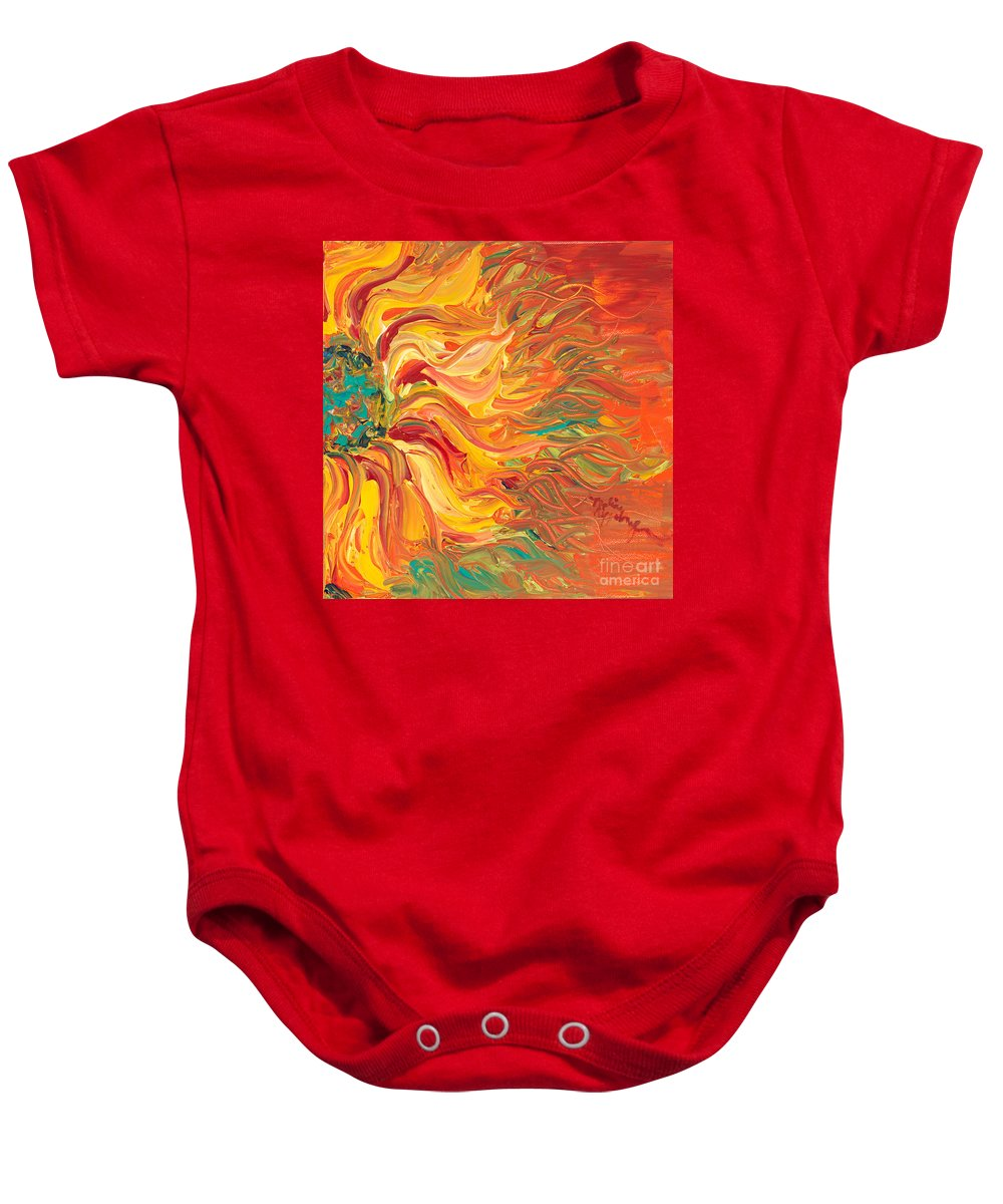 Sunjflower Baby Onesie featuring the painting Textured Fire Sunflower by Nadine Rippelmeyer