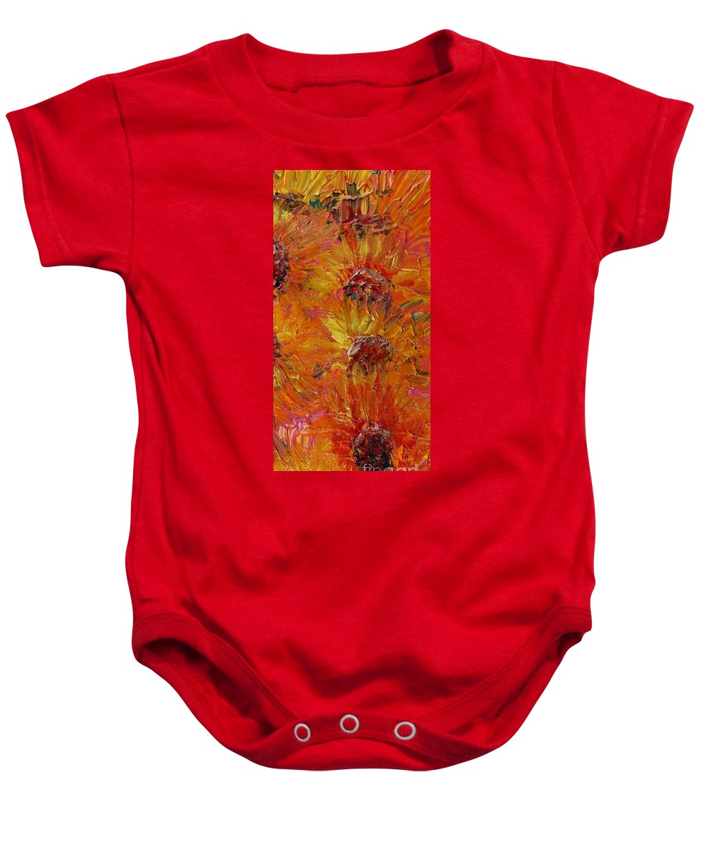 Sunflowers Baby Onesie featuring the painting Textured Sunflowers by Nadine Rippelmeyer