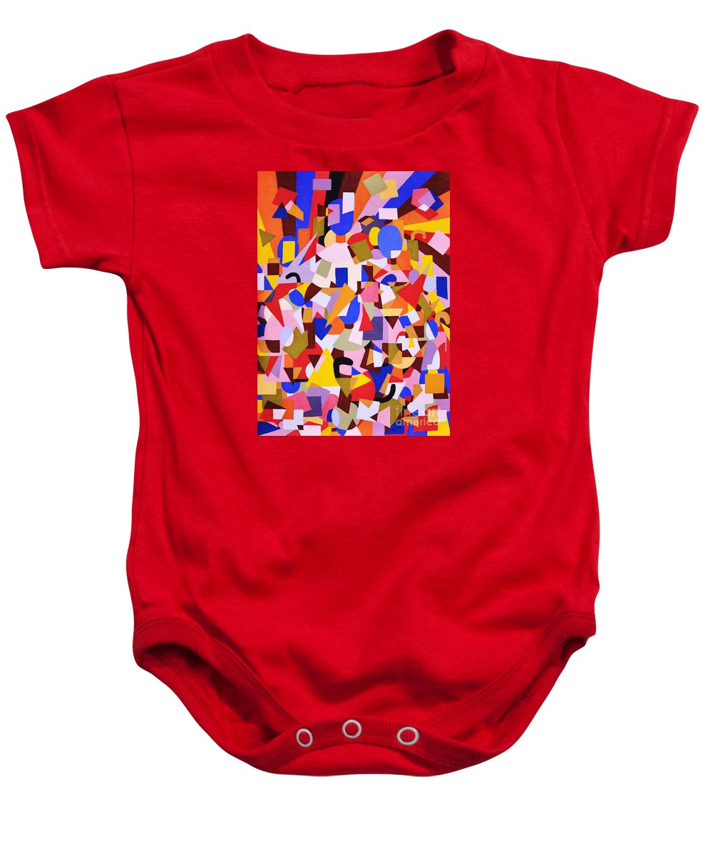 Abstract Baby Onesie featuring the painting The Art Of Misplacing Things by Reb Frost