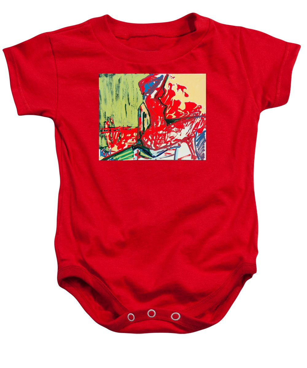 Woman Baby Onesie featuring the painting The Blue Chair by Kurt Hausmann
