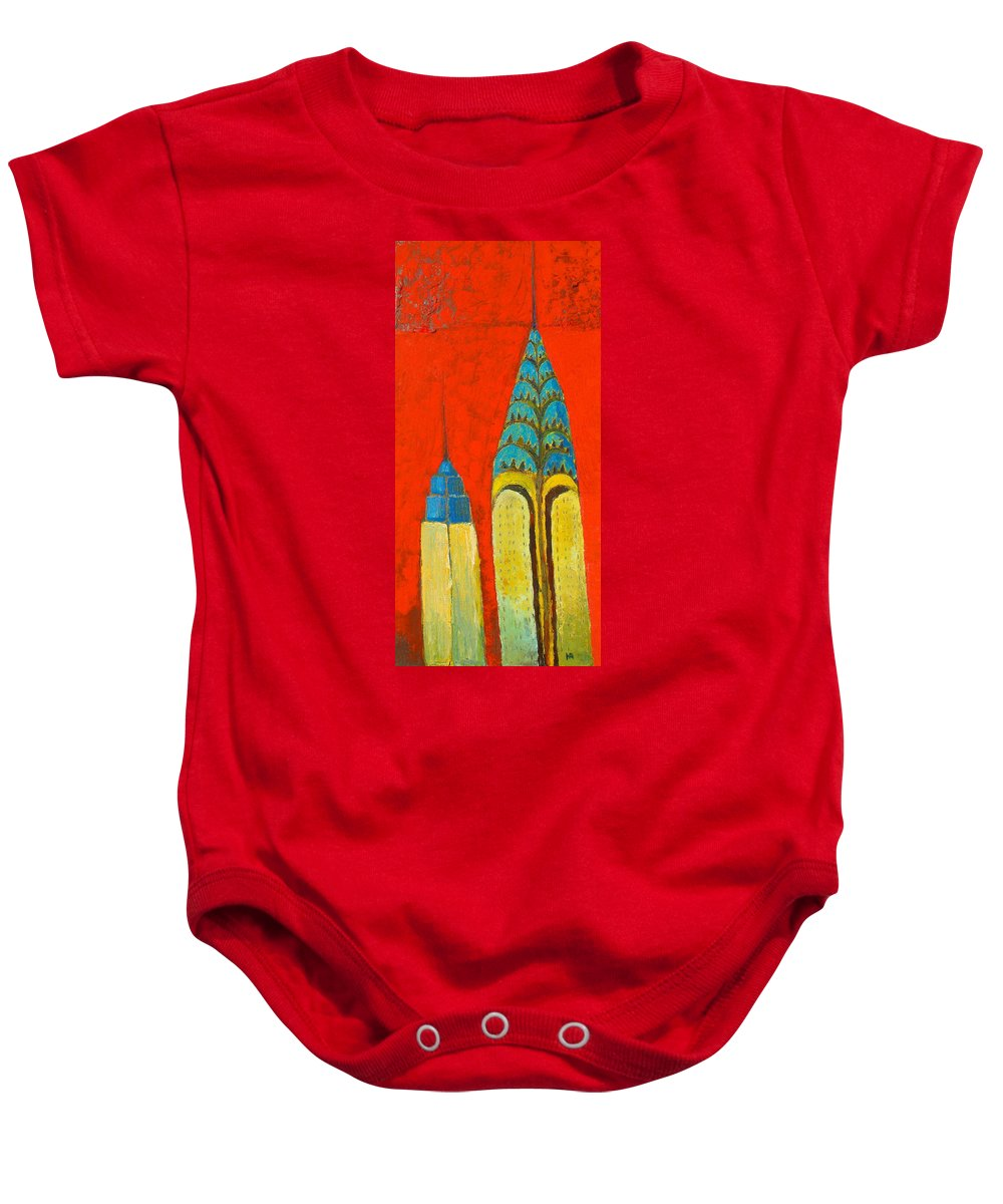 Baby Onesie featuring the painting The Chrysler And The Empire State by Habib Ayat